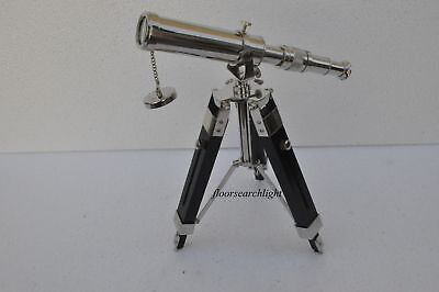 "10"" Solid Brass Chrome Telescope with Tripod Stand Decorative Collectible Decor"