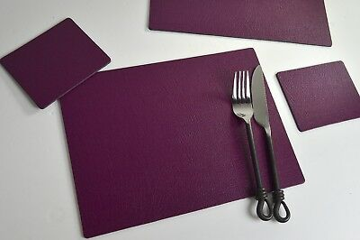 Set of 12 AUTUMN WINE  Bonded Leather PLACEMATS & 12 COASTERS, UK MADE, 24 Piece