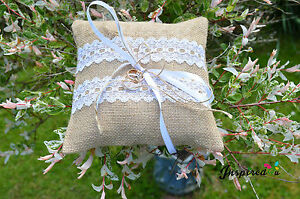Hessian Rustic Wedding Ring Cushion White Lace Ribbon Burlap Rose Flower