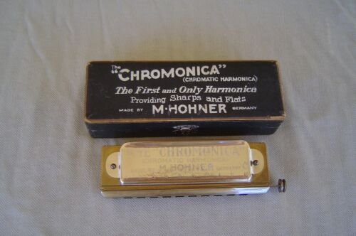 """VINTAGE """"THE CHROMONICA"""" MODEL 260 """"C"""" BY M. HOHNER WITH STAR AND ORIGINAL BOX"""