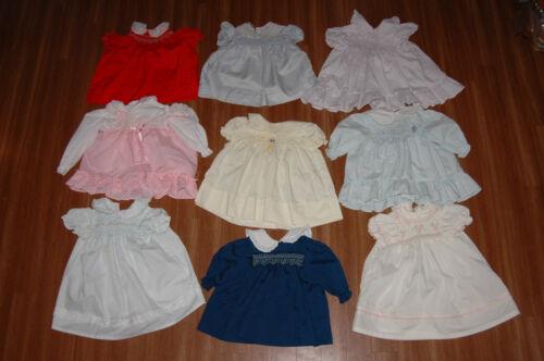Lot of Nine (9) Vintage Polly Flinders Smocked Dresses 12-24 months