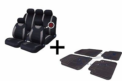 Carnaby Grey Black Universal Car Seat Covers Set + Matching Rubber Mats