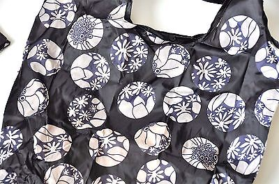 Eco Reusable Foldable Shopping Tote Bag Navy Blue Floral Flowers
