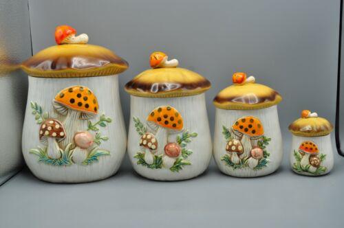 Vintage Mushroom Ceramic Canister Set of 4 Sears Roebuck and Co.1976 * Read *