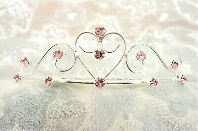 Pink Rhinestone Heart Tiara - Heart Tiaras