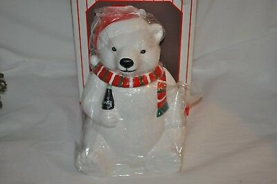 1996  COCA COLA POLAR BEAR drinking coke COOKIES CONTAINER JAR!! new old stock