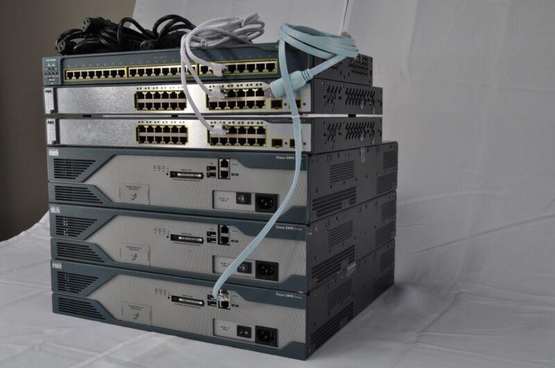 Cisco  CCNA CCNP R&S LAB KIT  3x Cisco2821 IOS 15.1, 2x WS-C3750 IOS 12.2