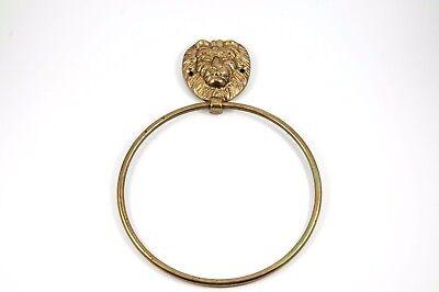 Vintage Solid Brass Lion Head Towel Holder Ring