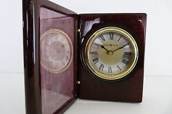 HOWARD MILLER DESK CLOCK IN WOODEN MAHOGANY BOX Mo # 645497