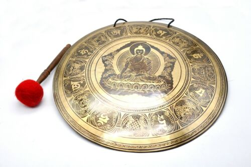 18 inches Diameter Buddha carved handmade gong-Temple gong-Meditation-yoga-Nepal