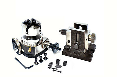 Rotary Table 3 Tilting 70 Mm Independent Chuck  Tailstock Clamping Kit