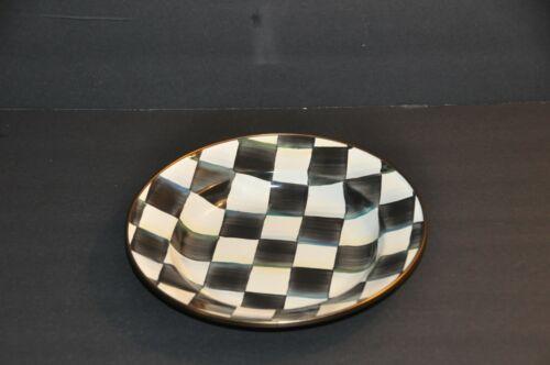 "MacKenzie Childs Courtly Check Enamelware Rimmed Dish Bowl 9"" Diameter - RETIRED"