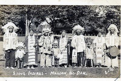 Mandan, North Dakota  Sioux Indians rppc Real Photo Postcard Vintage