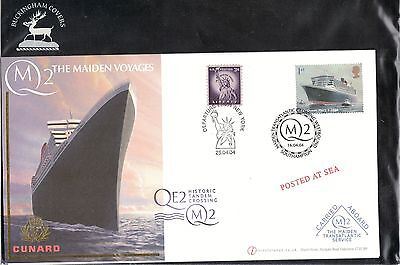 QE 2 - The Maiden Voyages. Historic Tandem Crossing. FDC. #02 QE2