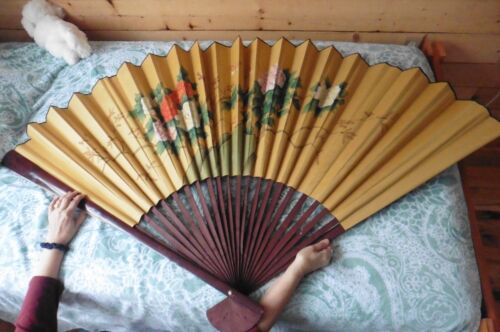 """Vintage X-Large Hand Painted Folding Wall Fan Wall art 64"""" bamboo flowers Asian"""
