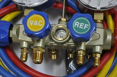 Manifold Gauge 4way Hose Set R410a R22ac Hvac Charge Test Recovery Service Tool