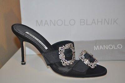 NIB MANOLO BLAHNIK Mulussanhan Crystal Mule 90 Heel Sandal Shoe Black Satin 38.5