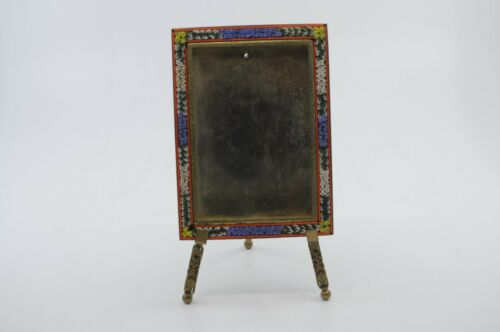 Vintage Italian Micro Mosaic Picture Frame glass flowers brass with easel Floral