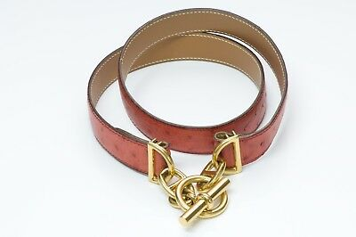 HERMES Chaine D'Ancre Red Ostrich Belt for sale  New York