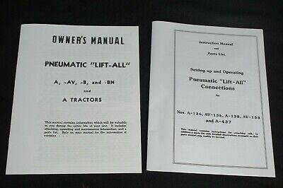 Pneumatic Lift-all Ih Farmall A B Av Exhaust Lift Owners Parts Manual Set