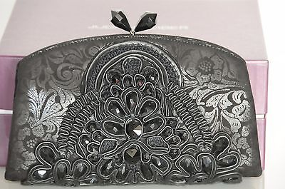 NEW JUDITH LEIBER Embroidered Black Crystals Minaudiere Clutch Evenin Bag
