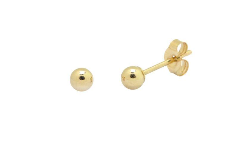 14K Gold Ball Stud Earrings 10mm 2mm