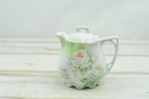 *Vintage German Painted Bone China Creamer With Lid Cream Pitcher Marked German