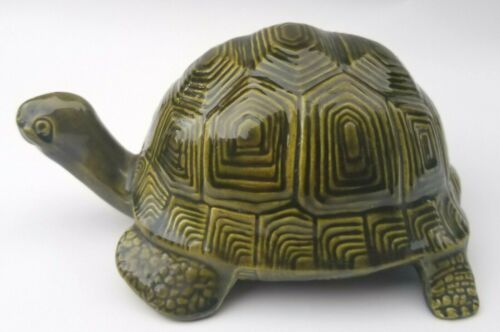 Vintage Ceramic Tortoise Turtle Green Signed Handmade 1983