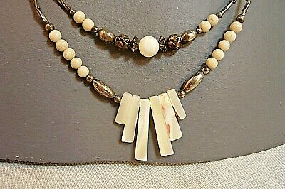 ETHNIC SILVER TONE & MOP NECKLACE-Double Strand at Bottom-Barrel Catch-18
