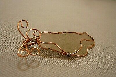 "COPPER & SILVER TONE WIRE ON FROSTY WHITE SEA GLASS  PENDANT-PX 1 1/4 x 2 1/4"" , used for sale  Las Vegas"