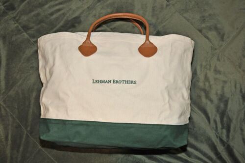 LEHMAN BROTHERS (W/G) ~ TOTE BAG ~ LEATHER HANDLES!