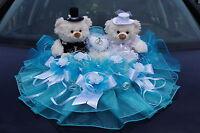 Coche Nupcial Decoraciones Decoración Hochzeitsauto Blanco Turquesa De Osos M3 -  - ebay.es