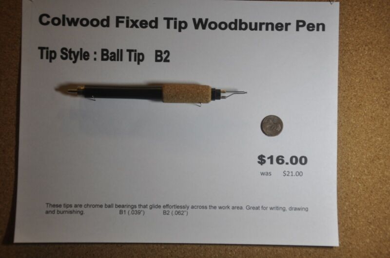 Colwood Fixed Tip Woodburner Pen Tip Style Ball Tip - B2