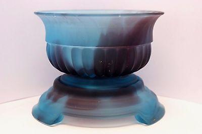 Rare Davidson Art Deco Matt Blue Cloud Glass Bowl,Stand & Frog - Pattern #1910M