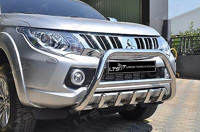 MITSUBISHI L200 TRITON CHROME AXLE NUDGE A-BAR S.STEEL BULL BAR 2015 ONWARDS