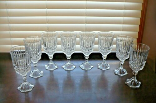 SET OF 8 FOSTORIA HERITAGE 24% LEAD CRYSTAL WATER WINE GOBLETS