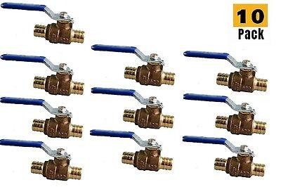 10pcs Heavy Duty 12pex Brass Full Port Water Stop Shutoff Ball Valve Cupc Lf
