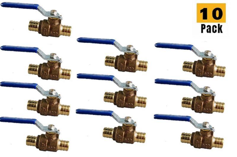 "Plumbing Lot 10Pcs 1/2"" Pex Brass Full Port Water Stop ShutOff Ball Valve LF UPC"