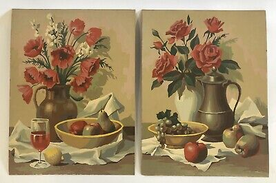 2 Vintage Paint By Number Still Life Roses Flowers Vase Fruit Wine Painting PBN (Fruit Painting)