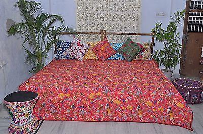 Christmas Red Quilt.Teen bedding Kantha Bedspread, Bird pattern.Queen