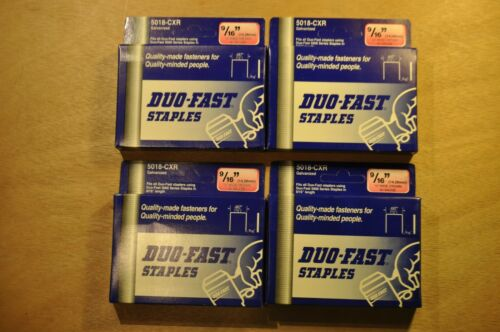 """Lot Of 4000 Duo-Fast 5018-XCR Galvanized 9/16"""" Leg Length 1/2"""" Crown Staples NEW"""