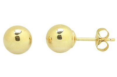 14k Yellow Gold Ball Stud Earrings High Polish 2mm-10mm Pushback 14k Yellow Gold Stud Earrings
