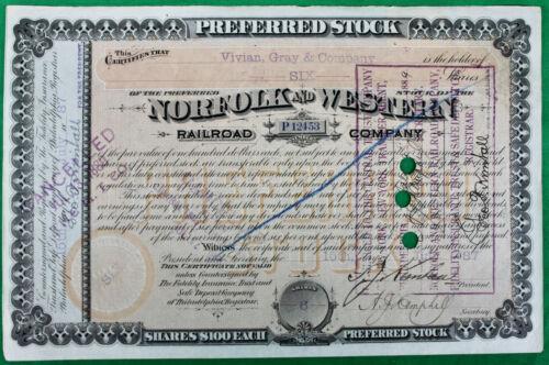 Original 1887 Norfolk and Western Railroad Stock Certificate