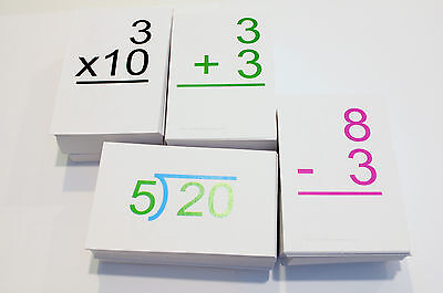 ALL POSSIBLE 0-12 Addition Subtraction Multiplication Division Math Flash Cards!