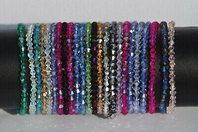 Modeschmuck Armband Kristall Beads rot grün blau rosa lila ca. 17-19 cm  (Kristall Schmuck Lila)