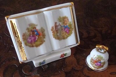 Limoges Porcelain Miniature Doll House Opened Book and Bell Set