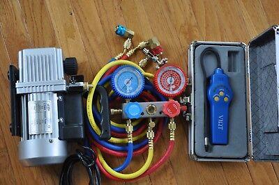 HVAC Tool Kit:Rotary Vacuum Pump+Manifold Gauge+Leak Detector+Meter+Car Access