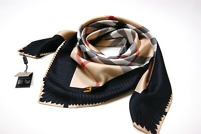 Burberry Silk Scarf - New Authentic Burberry Large Beige Check with Black Border Silk Scarf