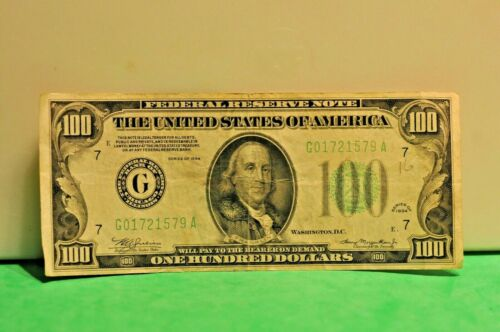 1934 $100 Federal Reserve Note Chicago