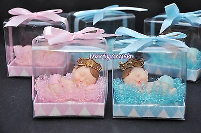 - 12 Baby Shower Party Decoration Favor Boy Girl Sleeping Baby Pink Blue Gift